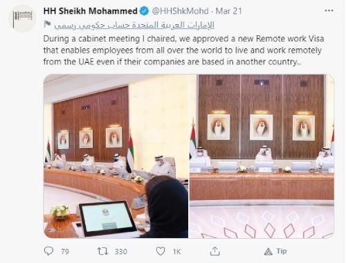 Sheikh Mohammed tweet regarding remote work visa