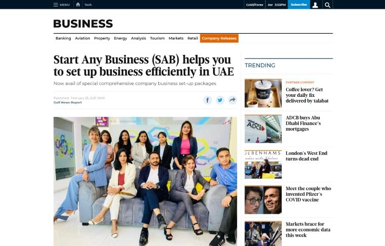 Start Any Business Featured On UAE Top News Site Gulf News